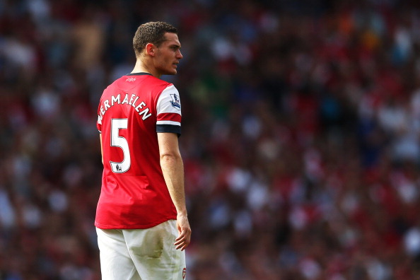 LONDON, ENGLAND - AUGUST 18:  Thomas Vermaelen of Arsenal in action during the Barclays Premier League match between  Arsenal and Sunderland at Emirates Stadium on August 18, 2012 in London, England.  (Photo by Julian Finney/Getty Images)