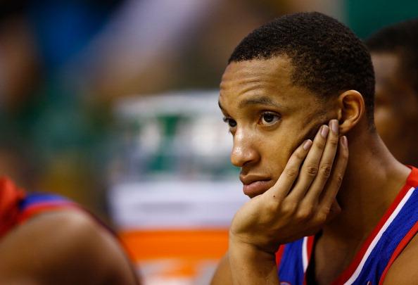 BOSTON, MA - DECEMBER 8: Evan Turner #12 of the Philadelphia 76ers sits on the bench in the fourth quarter against the Boston Celtics during the game on December 8, 2012 at TD Garden in Boston, Massachusetts. NOTE TO USER: User expressly acknowledges and agrees that, by downloading and or using this photograph, User is consenting to the terms and conditions of the Getty Images License Agreement. (Photo by Jared Wickerham/Getty Images)