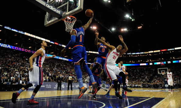LONDON, ENGLAND - JANUARY 17:  Amar'e Stoudemire of the New York Knicks slams a basket during the NBA London Live 2013 game between New York Knicks and the Detroit Pistons at the O2 Arena on January 17, 2013 in London, England.  (Photo by Jamie McDonald/Getty Images)