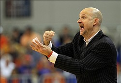 February 2, 2013; Gainesville, FL, USA; Ole Miss Rebels head coach Andy Kennedy against the Florida Gators during the second half at the Stephen C. O'Connell Center. Florida Gators defeated the Ole Miss Rebels 78-64. Mandatory Credit: Kim Klement-USA TODAY Sports