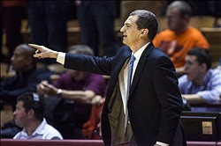 Feb 7, 2013; Blacksburg, VA, USA; Maryland Terrapins head coach Mark Turgeon points to his players during the second half against the Virginia Tech Hokies at Cassell Coliseum. Mandatory Credit: Peter Casey-USA TODAY Sports