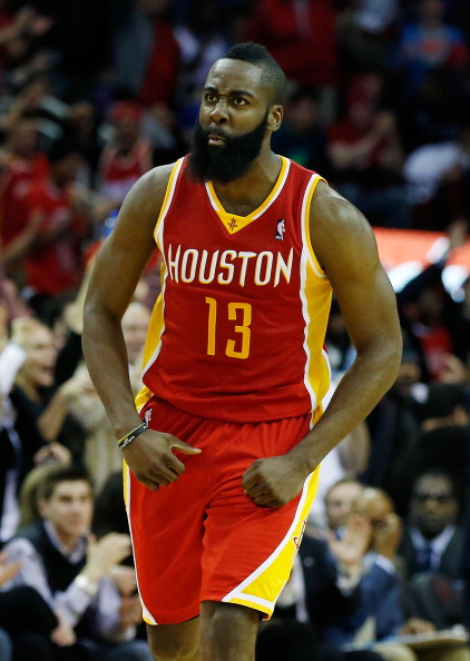 HOUSTON, TX - FEBRUARY 20:  James Harden #13 of the Houston Rockets celebrates a three point shot during the game against the Oklahoma City Thunder at Toyota Center on February 20, 2013 in Houston, Texas. NOTE TO USER: User expressly acknowledges and agrees that, by downloading and or using this photograph, User is consenting to the terms and conditions of the Getty Images License Agreement.  (Photo by Scott Halleran/Getty Images)