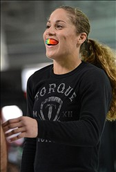 Feb 20, 2013; Torrance, CA, USA;  Liz Carmouche during today's public workout at the UFC gym in Torrance, CA. Carmouche has a bout with Ronda Rousey on Feb 23 in Anaheim, CA.  Mandatory Credit: Jayne Kamin-Oncea-USA TODAY Sports