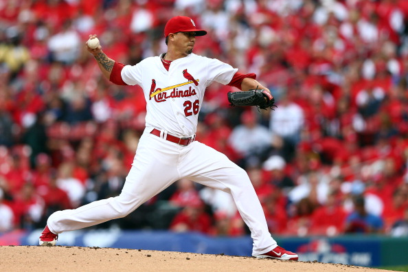ST LOUIS, MO - OCTOBER 17:  Kyle Lohse #26 of the St. Louis Cardinals pitches against the San Francisco Giants in Game Three of the National League Championship Series at Busch Stadium on October 17, 2012 in St Louis, Missouri.  (Photo by Elsa/Getty Images)