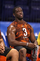 Feb 23, 2013; Indianapolis, IN, USA; Arkansas-Pinebluff offensive lineman Terron Armstead takes a rest on the bench after participatin in on the field workouts during the 2013 NFL Combine at Lucas Oil Stadium.  Mandatory Credit: Brian Spurlock-USA TODAY Sports