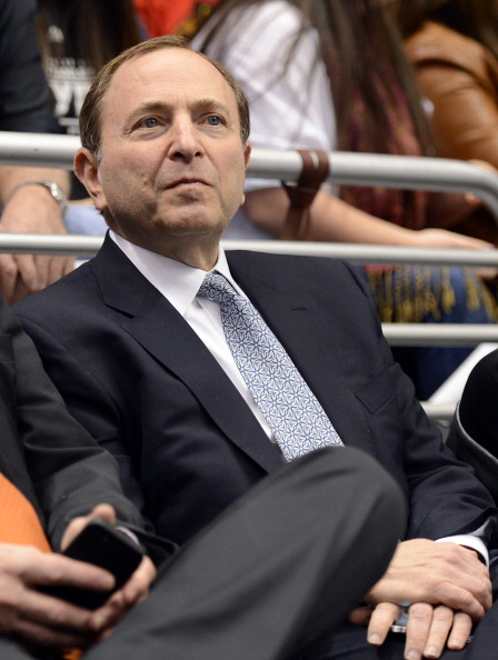 LOS ANGELES, CA - JANUARY 19:  NHL Commissioner Gary Bettman takes in the season opening game between the Chicago Blackhawks and the Los Angeles Kings at Staples Center on January 19, 2013 in Los Angeles, California.  (Photo by Harry How/Getty Images)