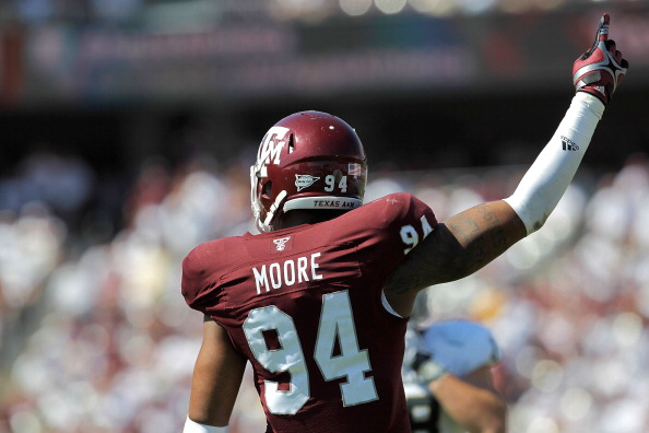 COLLEGE STATION, TX - OCTOBER 15: Damontre Moore #94 of the Texas A&M Aggies celebrates after a play during a game against the Baylor Bears at Kyle Field on October 15, 2011 in College Station, Texas. The Texas A&M Aggies defeated the Baylor Bears 55-28. (Photo by Sarah Glenn/Getty Images)