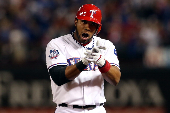 ARLINGTON, TX - OCTOBER 05:  Elvis Andrus #1 of the Texas Rangers reacts after he hit a single in the bottom of the first inning against the Baltimore Orioles uring the American League Wild Card playoff game  at Rangers Ballpark in Arlington on October 5, 2012 in Arlington, Texas.  (Photo by Ronald Martinez/Getty Images)