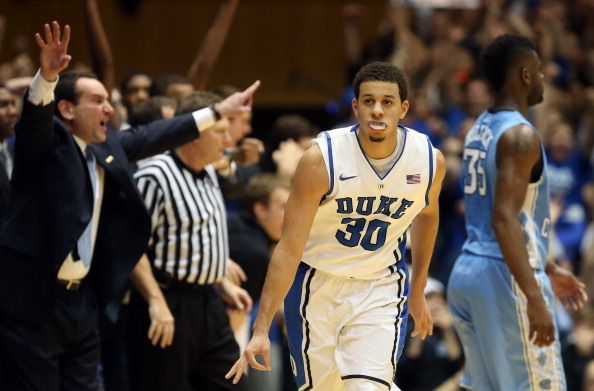 DURHAM, NC - FEBRUARY 13:  Seth Curry #30 of the Duke Blue Devils reacts after a basket during their game against the North Carolina Tar Heels at Cameron Indoor Stadium on February 13, 2013 in Durham, North Carolina.  (Photo by Streeter Lecka/Getty Images)
