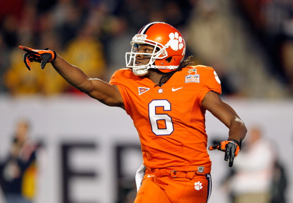 MIAMI GARDENS, FL - JANUARY 04:  DeAndre Hopkins #6 of the Clemson Tigers gestures on the field against the West Virginia Mountaineers during the Discover Orange Bowl at Sun Life Stadium on January 4, 2012 in Miami Gardens, Florida.  (Photo by Mike Ehrmann/Getty Images)