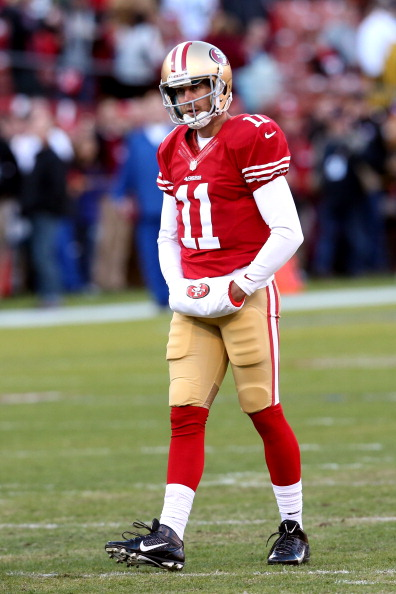 SAN FRANCISCO, CA - JANUARY 12:  Quarterback Alex Smith #11 of the San Francisco 49ers looks on during warm ups prior to the NFC Divisional Playoff Game against the Green Bay Packers at Candlestick Park on January 12, 2013 in San Francisco, California.  (Photo by Stephen Dunn/Getty Images)