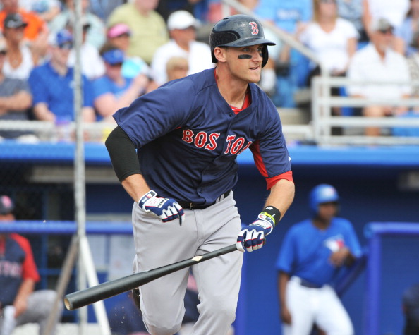 DUNEDIN, FL - FEBRUARY 25:  Infielder Will Middlebrooks #16 of the Boston Red Sox singles against the Toronto Blue Jays during a preason game February 25, 2013 at the Florida Auto Exchange Stadium in Dunedin, Florida. (Photo by Al Messerschmidt/Getty Images)