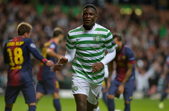 GLASGOW, SCOTLAND - NOVEMBER 07:  Victor Wanyama of Celtic celebrates after scoring during the UEFA Champions League Group G match between Celtic and Barcelona at Celtic Park on November 7, 2012 in Glasgow, Scotland.  (Photo by Jeff J Mitchell/Getty Images)
