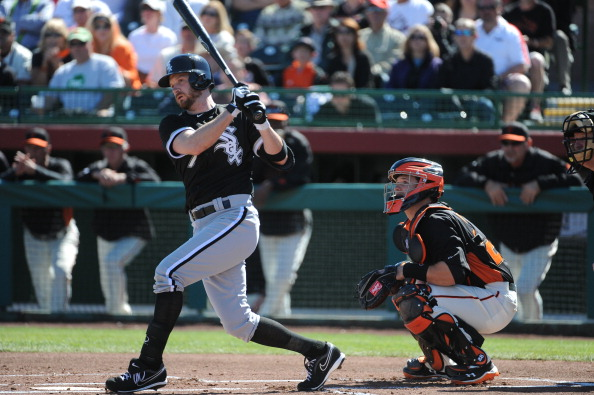 SCOTTSDALE, AZ - FEBRUARY 25:   Jeff Keppinger #7 of the Chicago White Sox bats during the game against the San Francisco Giants on Monday, February 25, 2013 at Scottsdale Stadium in Scottsdale, Arizona. The Giants and White Sox played to a 9-9 tie. (Photo by Rich Pilling/Getty Images)
