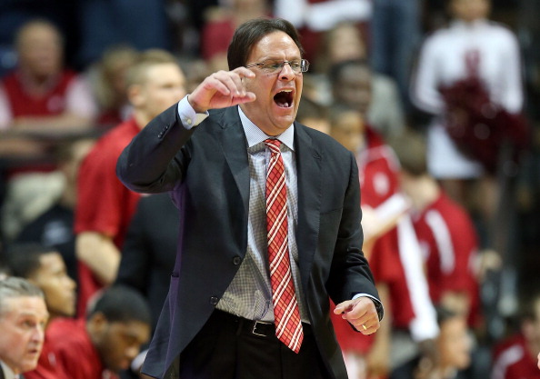 BLOOMINGTON, IN - MARCH 05:  Tom Crean the head coach of the Indiana Hoosiers gives instructions to his team during the game against the Ohio State Buckeyes at Assembly Hall on March 5, 2013 in Bloomington, Indiana.  (Photo by Andy Lyons/Getty Images)