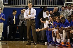 March 2, 2013; Gainesville, FL, USA; Florida Gators head coach Billy Donovan during the second half of the game against the Alabama Crimson Tide at the Stephen C. O'Connell Center. Florida defeated Alabama 64-52. Mandatory Credit: Rob Foldy-USA TODAY Sports