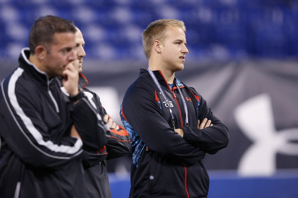 INDIANAPOLIS, IN - FEBRUARY 24: Matt Barkley of Southern California watches the workouts during the 2013 NFL Combine at Lucas Oil Stadium on February 24, 2013 in Indianapolis, Indiana. (Photo by Joe Robbins/Getty Images)
