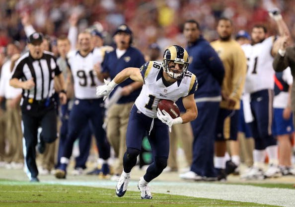 GLENDALE, AZ - NOVEMBER 25:  wide receiver Danny Amendola #16 of the St. Louis Rams during the NFL game against the Arizona Cardinals at the University of Phoenix Stadium on November 25, 2012 in Glendale, Arizona. The Rams defeated the Carindals 31-17.  (Photo by Christian Petersen/Getty Images)