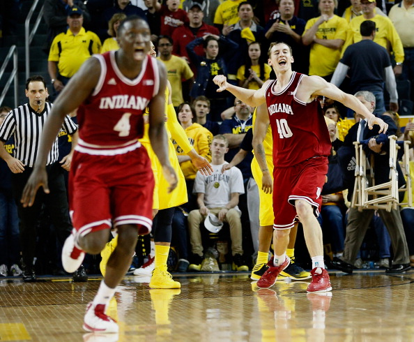 ANN ARBOR, MI - MARCH 10:  Cody Zeller #40 of the Indiana Hoosiers reacts with teammate Victor Oladipo #4 after beating the Michigan Wolverines 72-71 at Crisler Center on March 10, 2013 in Ann Arbor, Michigan. (Photo by Gregory Shamus/Getty Images)
