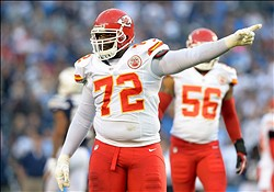 Nov 1, 2012; San Diego, CA, USA; Kansas City Chiefs defensive end Glenn Dorsey (72) gestures during the first quarter against the San Diego Chargers at Qualcomm Stadium. Mandatory Credit: Jake Roth-USA TODAY Sports
