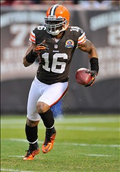 Dec 16, 2012; Cleveland, OH, USA; Cleveland Browns wide receiver Josh Cribbs (16) during a game against the Washington Redskins at Cleveland Browns Stadium. Washington won 38-21. Mandatory Credit: David Richard-USA TODAY Sports