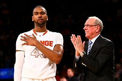 Mar 12, 2013; New York, NY, USA; Syracuse Orange head coach Jim Boeheim speaks with forward James Southerland (43) on the sidelines against the Seton Hall Pirates during the second half at the Big East tournament at Madison Square Garden. Syracuse won 75-63. Mandatory Credit: Debby Wong-USA TODAY Sports