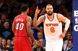 Mar. 3, 2013; New York, NY, USA; New York Knicks center Tyson Chandler (6) reacts on the court against the Miami Heat during the first half at Madison Square Garden. Mandatory Credit: Debby Wong-USA TODAY Sports