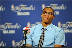 Jun 14, 2012; Oklahoma City, OK, USA; Oklahoma City Thunder point guard Russell Westbrook talks to the media during the post game press conference after game two in the 2012 NBA Finals against the Miami Heat at the Chesapeake Energy Arena. Miami won 100-96. Mandatory Credit: Jerome Miron-USA TODAY Sports