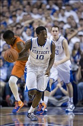 Mar 9, 2013; Lexington, KY, USA; Kentucky Wildcats guard Archie Goodwin (10) dribbles the ball against the Florida Gators in the first half at Rupp Arena. Kentucky defeated Florida 61-57. Mandatory Credit: Mark Zerof-USA TODAY Sports