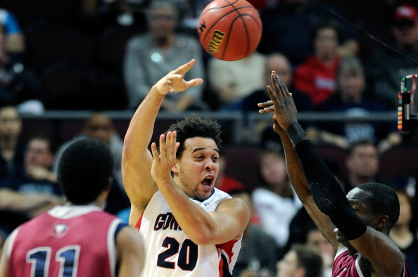 LAS VEGAS, NV - MARCH 09:  Elias Harris #20 of the Gonzaga Bulldogs passes the ball during a semifinal game of the West Coast Conference Basketball tournament against the Loyola Marymount Lions at the Orleans Arena March 9, 2013 in Las Vegas, Nevada.  (Photo by David Becker/Getty Images)