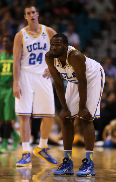LAS VEGAS, NV - MARCH 16:  Travis Wear #24 and Shabazz Muhammad #15 of the UCLA Bruins look on in the first half against the Oregon Ducks during the Pac-12 Championship game at MGM Grand Garden Arena on March 16, 2013 in Las Vegas, Nevada.  (Photo by Jeff Gross/Getty Images)