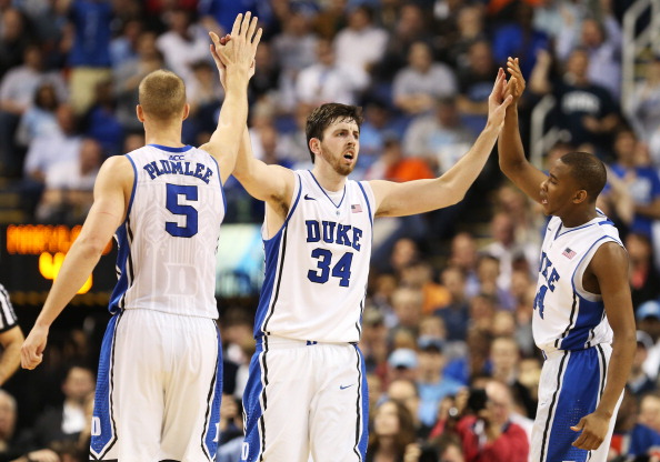 GREENSBORO, NC - MARCH 15:  Ryan Kelly #34 celebates his basket with a foul along with teammates Mason Plumlee #5 and Rasheed Sulaimon #14 of the Duke Blue Devils in the second half against the Maryland Terrapins during the quarterfinals of the ACC Men's Basketball Tournament at Greensboro Coliseum on March 15, 2013 in Greensboro, North Carolina.  (Photo by Streeter Lecka/Getty Images)