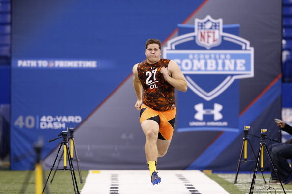 INDIANAPOLIS, IN - FEBRUARY 23:  Luke Joeckel of Texas A&M runs the 40-yard dash during the 2013 NFL Combine at Lucas Oil Stadium on February 23, 2013 in Indianapolis, Indiana. (Photo by Joe Robbins/Getty Images)