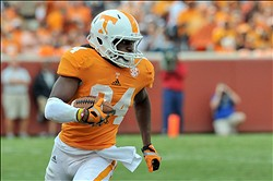 Sep 8, 2012; Knoxville, TN, USA;  Tennessee Volunteers wide receiver Cordarrelle Patterson (84) runs the ball against the Georgia State Panthers during the game at Neyland Stadium. Mandatory Credit: Jim Brown-USA TODAY Sports