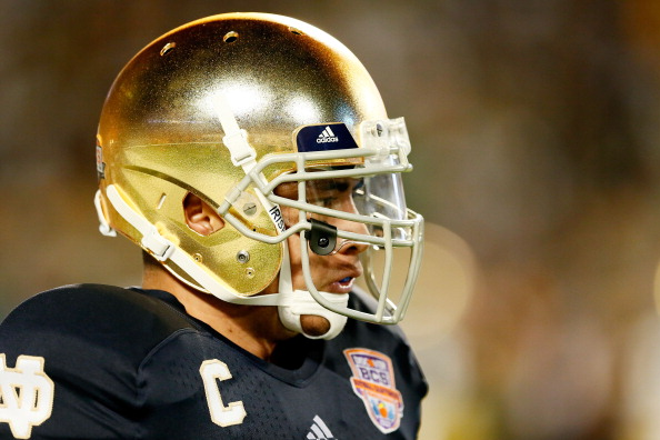 MIAMI GARDENS, FL - JANUARY 07:  Manti Te'o #5 of the Notre Dame Fighting Irish warms up prior to playing against the Alabama Crimson Tide in the 2013 Discover BCS National Championship game at Sun Life Stadium on January 7, 2013 in Miami Gardens, Florida.  (Photo by Kevin C. Cox/Getty Images)