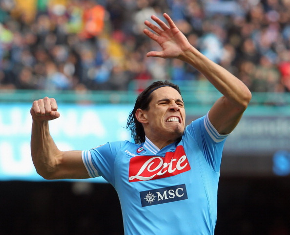 NAPLES, ITALY - MARCH 17:  Edinson Cavani of Napoli celebrates after scoring the opening goal during the Serie A match between SSC Napoli and Atalanta BC at Stadio San Paolo on March 17, 2013 in Naples, Italy.  (Photo by Maurizio Lagana/Getty Images)