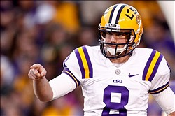 November 10, 2012; Baton Rouge, LA, USA;  LSU Tigers quarterback Zach Mettenberger (8) against the Mississippi State Bulldogs prior to kickoff of a game at Tiger Stadium.  Mandatory Credit: Derick E. Hingle-USA TODAY Sports
