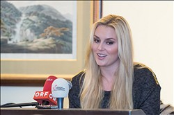 Nov 23, 2012; Aspen, CO, USA; Lindsey Vonn (USA) addresses her recovery from a stomach illness and her plans to race against the men in Lake Louise during a press conference at the St Regis hotel in Aspen, Colorado. Mandatory Credit: Paul Bussi-USA TODAY Sports