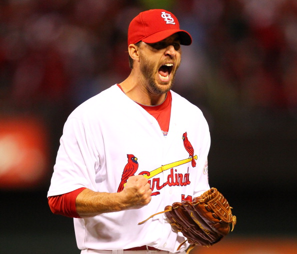 ST LOUIS, MO - OCTOBER 18:  Pitcher Adam Wainwright #50 of the St. Louis Cardinals reacts after the end of the sixth inning against the San Francisco Giants in Game Four of the National League Championship Series at Busch Stadium on October 18, 2012 in St Louis, Missouri.  (Photo by Dilip Vishwanat/Getty Images)