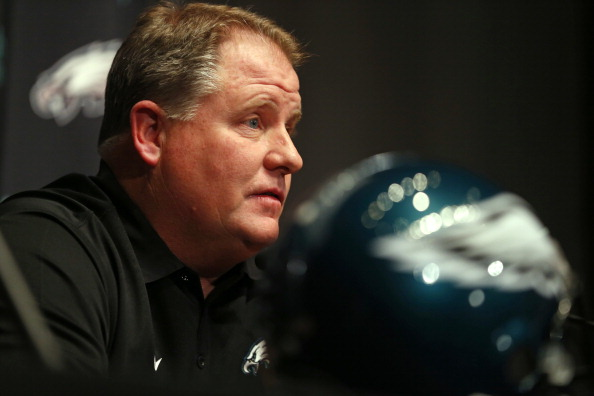 PHILADELPHIA, PA - JANUARY 17: Chip Kelly talks to the media after being introduced as the new head coach of the Philadelphia Eagles during a news conference at the team's NovaCare Complex on January 17, 2013 in Philadelphia, Pennsylvania. The former Oregon coach surprised many after he initially turned down NFL clubs saying he would remain at Oregon. (Photo by Rich Schultz/Getty Images)