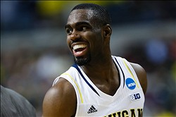 Mar 23, 2013; Auburn Hills, MI, USA; Michigan Wolverines guard Tim Hardaway Jr. (10) reacts to a play in the first half against the Virginia Commonwealth Rams during the third round of the NCAA basketball tournament at The Palace. Mandatory Credit: Rick Osentoski-USA TODAY Sports