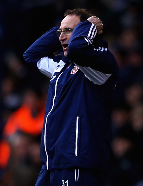WEST BROMWICH, ENGLAND - FEBRUARY 23:  Martin O'Neill, manager of Sunderland looks on during the Barclays Premier League match between West Bromwich Albion and Sunderland at The Hawthorns on February 23, 2013 in West Bromwich, England.  (Photo by Matthew Lewis/Getty Images)