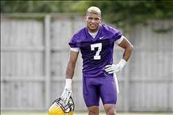 August 2, 2012; Baton Rouge, LA, USA;  LSU Tigers cornerback Tyrann Mathieu (7) during the fall camp practice at the Charles McClendon Practice Facility.  Mandatory Credit: Derick E. Hingle-USA TODAY Sports