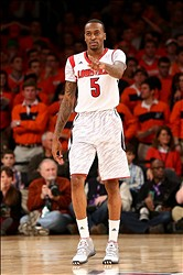 Mar 16, 2013; New York, NY, USA; Louisville Cardinals guard Kevin Ware (5) reacts on the court against the Syracuse Orange during the championship game of the Big East tournament at Madison Square Garden. Louisville won 78-61. Mandatory Credit: Debby Wong-USA TODAY Sports