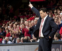 Jan 5, 2013; Tucson, AZ, USA; Arizona Wildcats head coach Sean Miller directs his players during the second half against the Utah Utes at McKale Center. The Wildcats beat the Utes 60-57. Mandatory Credit: Casey Sapio-USA TODAY Sports