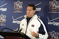November 24, 2012; Tuscaloosa, AL, USA;  Auburn Tigers head coach Gene Chizik talks to the media following the Tigers 49-0 loss against the Alabama Crimson Tide at Bryant Denny Stadium. Chizik refused to address his coaching future at Auburn University. Mandatory Credit: John David Mercer-USA TODAY Sports