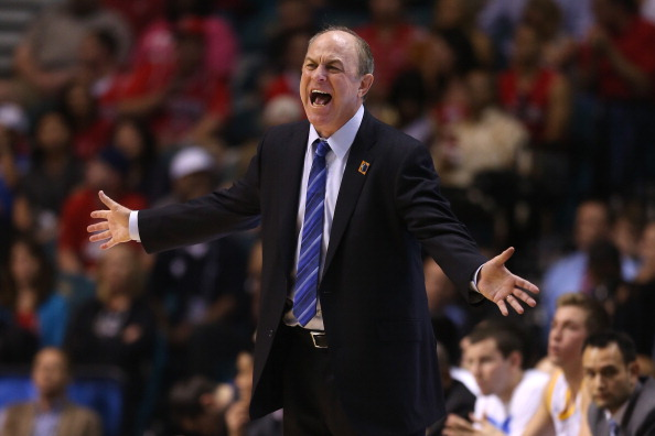 LAS VEGAS, NV - MARCH 15:  Head coach Ben Howland of the UCLA Bruins calls out while taking on the Arizona Wildcats in the second half during the semifinals of the Pac-12 tournament at the MGM Grand Garden Arena on March 14, 2013 in Las Vegas, Nevada.  (Photo by Jeff Gross/Getty Images)