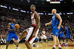 April 7, 2013; Portland, OR, USA; Portland Trail Blazers shooting guard Will Barton (5) reacts after a dunk against the Dallas Mavericks in the second half at the Rose Garden.  Mandatory Credit: Jaime Valdez-USA TODAY Sports