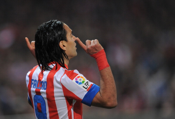 MADRID, SPAIN - NOVEMBER 25:  Radamel Falcao of Club Atletico de Madrid celebrates after scoring his team's opening goal during the La Liga match between Club Atletico de Madrid and Sevilla FC at Vicente Calderon Stadium on November 25, 2012 in Madrid, Spain.  (Photo by Denis Doyle/Getty Images)