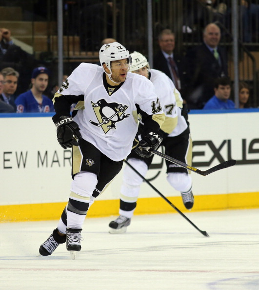 NEW YORK, NY - APRIL 03:  Jarome Iginla #12 of the Pittsburgh Penguins skates against the New York Rangers at Madison Square Garden on April 3, 2013 in New York City.  (Photo by Bruce Bennett/Getty Images)